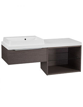 Tavistock Array Dark Java Single Drawer Basin Unit With 600mm Open Unit