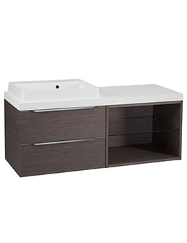 Tavistock Array Dark Java Double Drawer Basin Unit With 600mm Open Unit