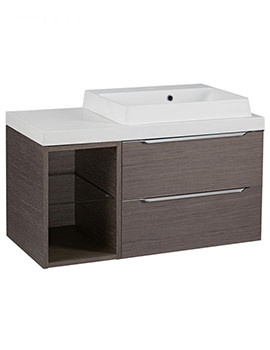 Tavistock Array Dark Java Double Drawer Basin Unit With 300mm Open Unit