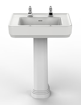 Wynwood 600mm 2 Tapholes Basin And Full Pedestal