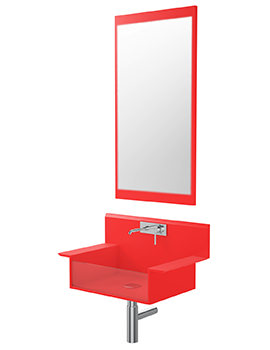 Supplies Red Wall Hung Basin With Mirror - LREDWALL