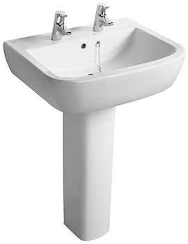 Ideal Standard Tempo 600mm 2 Tap Hole Basin And Full Pedestal
