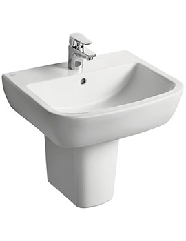 Ideal Standard Tempo 600mm 1 Tap Hole Basin And Semi Pedestal