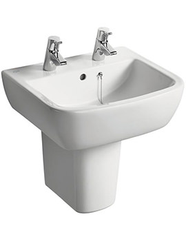 Ideal Standard Tempo 500mm 2 Tap Hole Basin And Semi Pedestal