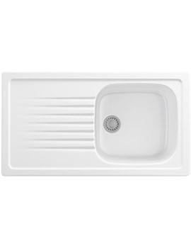 Elba ELK 611 White Ceramic 1.0 Bowl Kitchen Inset Sink