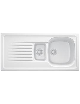 Elba ELK 651 White Ceramic 1.5 Bowl Kitchen Inset Sink