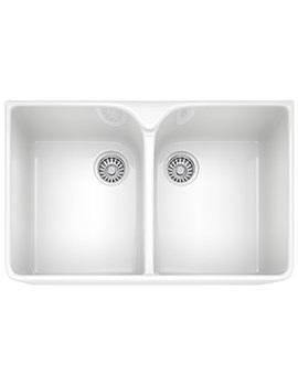 Belfast VBK 720 White Ceramic 2.0 Bowl Kitchen Sink