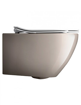 Svelte Platinum Wall Hung WC Pan With White Soft Close Seat