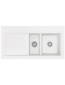 Mythos MTK 651 Ceramic White 1.5 Bowl Kitchen Inset Sink