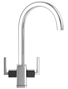 Mythos MTG Chrome Kitchen Sink Mixer Tap With Onyx Shoulders