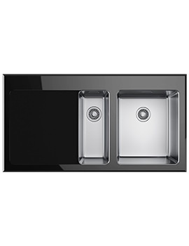 Kubus KBV 651 Black Glass 1.5 Bowl Inset Kitchen Sink