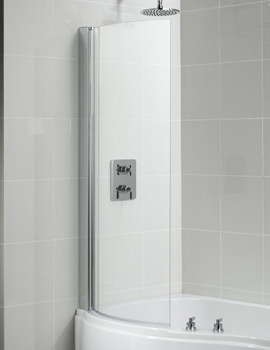 Space 760 x 1420mm Curved Shower Bath Screen