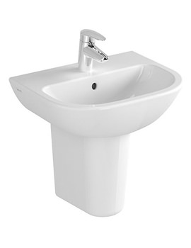 Vitra Layton 650mm Cloakroom Basin With Half Large Pedestal