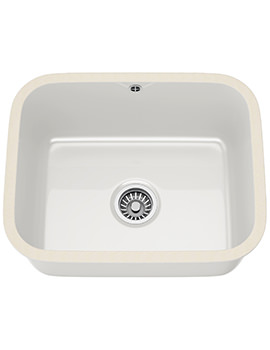 V And B VBK 110 50 Ceramic 1.0 Bowl White Undermount Kitchen Sink