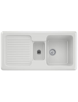 V And B VBK 651 Ceramic White 1.5 Bowl Kitchen Inset Sink