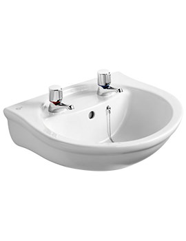 Alto 500mm 2 Taphole Washbasin With Overflow
