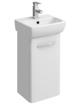 E100 Square 305mm White Unit For 360mm 1 Or 2 Tap Hole Basin
