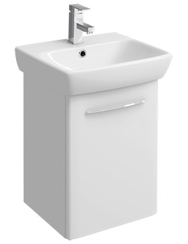 E100 Square 420mm White Unit And 500mm 1 Tap Hole Basin