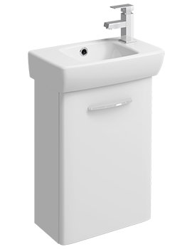 Twyford E100 Square 396mm White Unit And 450mm 1 Right Hand Tap Hole Basin