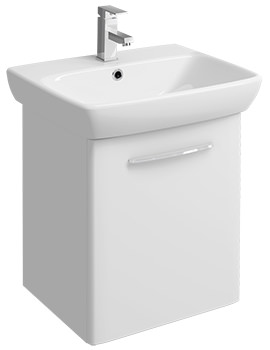 E100 Square 568mm White Unit And 600mm 1 Tap Hole Basin