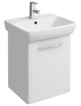 E100 Square 464mm White Unit And 550mm 1 Tap Hole Basin