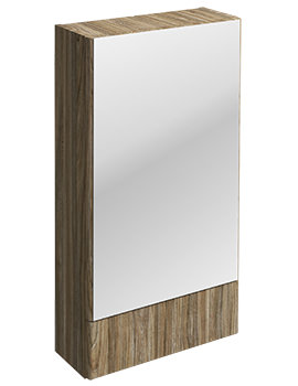 Twyford E100 Square Grey Ash Wood Mirror Cabinet 464 x 850mm