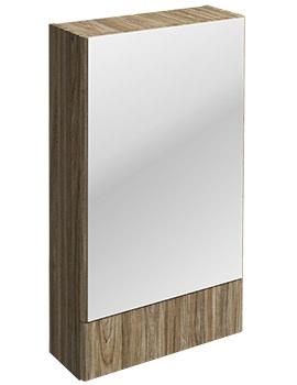 Twyford E100 Square Grey Ash Wood Mirror Cabinet 493 x 850mm
