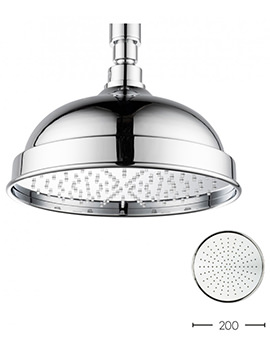 Belgravia Chrome Easy Clean Fixed Shower Head 200mm