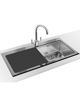 Kubus Designer Pack KBV 611 Black Glass Inset Sink And Tap