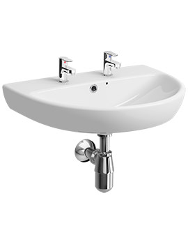 Twyford E100 Round 650 x 500mm 2 Tap Hole Washbasin - E14332WH