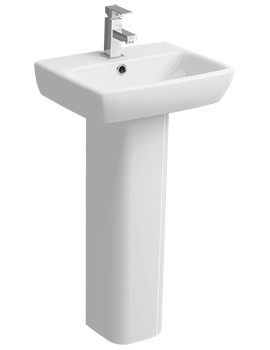 Twyford E100 Square 450 x 350mm 1 Tap Hole Washbasin With Full Pedestal