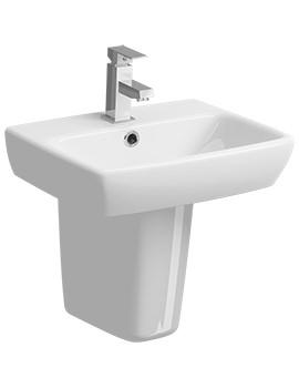 E100 Square 450 x 350mm 1 Tap Hole Washbasin With Semi Pedestal