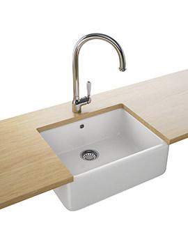 Belfast Designer Pack VBK 710 White Ceramic Kitchen Sink And Tap