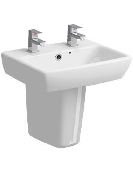 Twyford E100 Square 450 x 350mm 2 Tap Hole Washbasin With Semi Pedestal