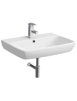 E100 Square 650 x 480mm 1 Tap Hole Washbasin - E14351WH