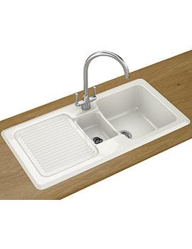 V And B Designer Pack VBK 651 Ceramic White Kitchen Sink And Tap