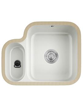 V And B VBK 160 Ceramic White 1.5 Bowl Undermount Kitchen Sink