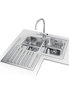 Studio Designer Pack STX 621-E Stainless Steel Corner Sink And Tap