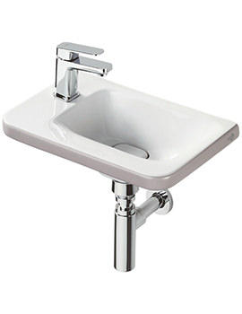 Tonic II 450mm 1TH LH Asymmetric Guest Basin Matt Brown Edge