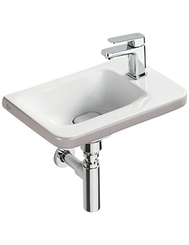 Tonic II 450mm 1TH RH Asymmetric Guest Basin Matt Brown Edge