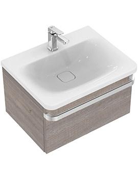 Ideal Standard Tonic II 600mm 1 Drawer Washbasin Unit Light Grey Wood