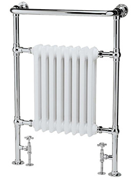 Lauren Harrow 673 x 965mm Chrome-White Traditional Heated Towel Rail