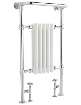 Small Harrow 540 x 965mm Chrome-White Traditional Heated Towel Rail