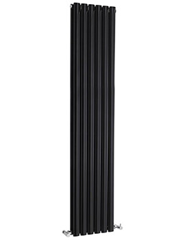 Lauren Ricochet Double Panel 354 x 1800mm Black Vertical Designer Radiator