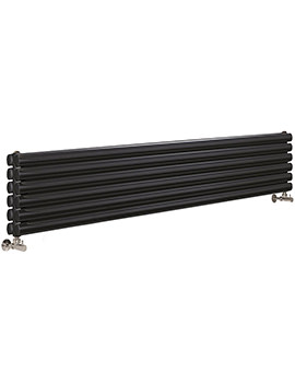 Retro 326 1800 x 354mm Horizontal Designer Radiator High Gloss Black