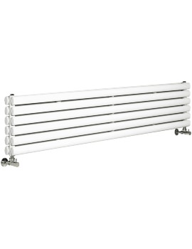 Ricochet Double Panel 1800 x 354mm White Horizontal Designer Radiator