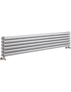 Ricochet Double Panel 1800 x 354mm Silver Horizontal Designer Radiator