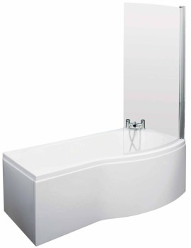 Curved B-Shaped 1700 x 900mm Right Hand Acrylic Shower Bath Pack
