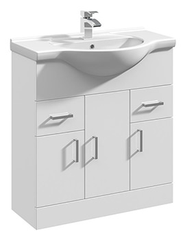 Gloss White 750mm 3 Door And 2 Drawer Basin Vanity Unit