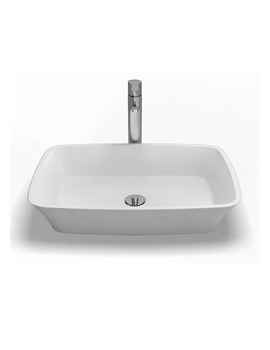 Palermo Natural Stone Basin 590 x 390mm White - B3C